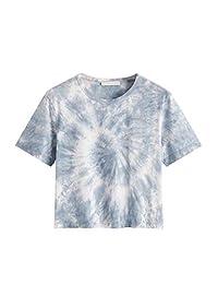 SweatyRocks Tie Dye de la Mujer Carta Imprimir Ripped Crop Parte Superior T Camisa