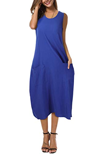 (LECCECA Women Linen Cotton Summer Sleeveless Loose Tank Midi Dress with Pockets Blue, L)