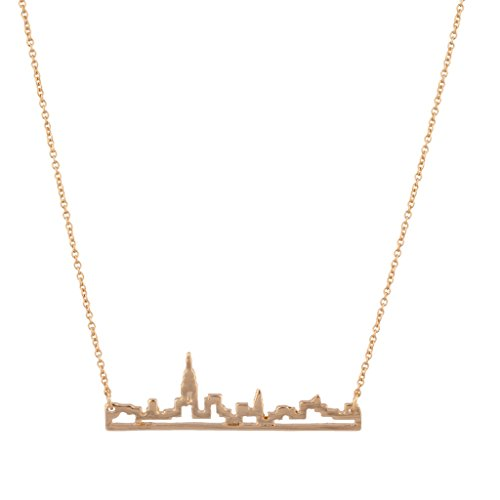 Lux Accessories New York City Skyline Empire State Outline NYC Bar Pendant Necklace (Eve Nyc Bars Christmas)