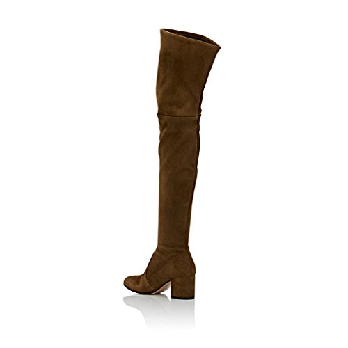 2df36a54bd82 FSJ Women Retro Round Toe Over The Knee Stretch Boots Faux Suede ...