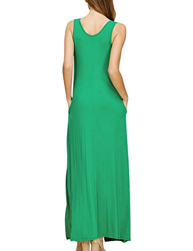 Poches Plaine Longues Occasionnels Bess Femmes Mariée Robe Balancer Robe Maxi Col V Vert