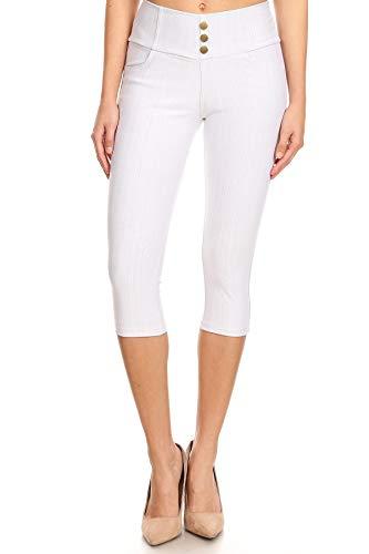 Women's High Waist Stretch Skinny Denim Capri Jeggings with Pockets Reg-Plus Size (XXX-Large, Capri-White)