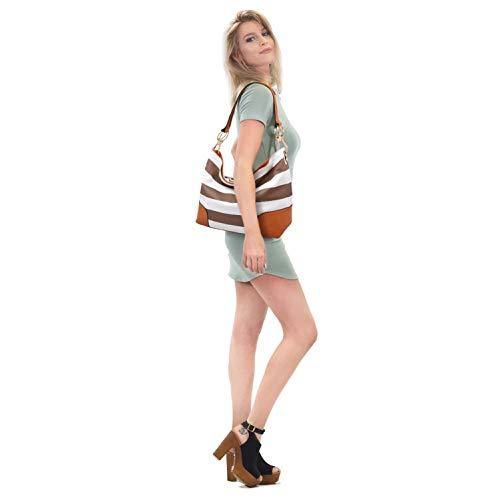 Vegan Leather Ladies Hobo Faux Classic Tote Women Handbag Shoulder Top blue Large White Purses Bag Handle 7PxCBw