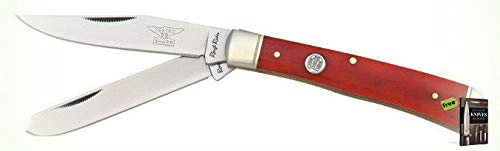 (Rough Rider Folding Knives Trapper Red Smooth Bone 4 1/8