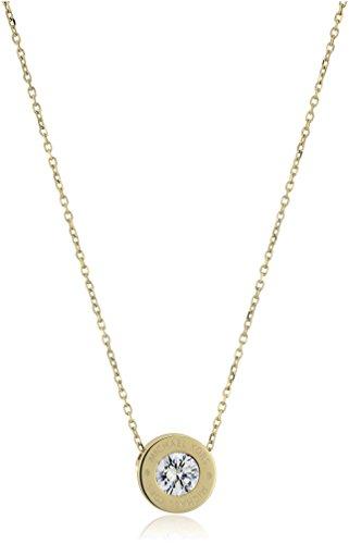 Michael Kors Logo Gold-Tone and Crystal Pendant Necklace, (Crystal Logo Pendant)