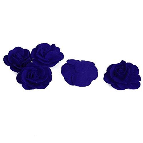 eDealMax Traje de Novia Accesorios decorativa de la Flor de Rose Heads 5 PCS Azul Oscuro