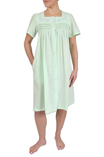 Heavenly Bodies Seersucker Robe, Short Coverup With Soft Lightweight Fabric For Summer and Easy On and Off Snap Front, Mint, Medium