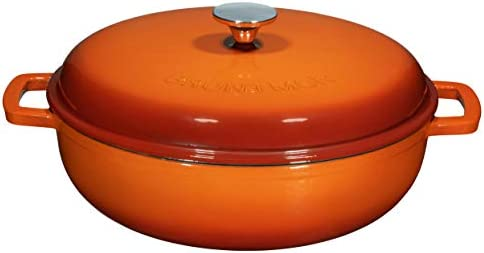 Enameled 4.5 Quart Cast Iron Casserole Dish Dutch Oven Marmite Pot Super Heat Retention Gradient Pumpkin Spice 144oz.