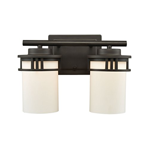 Elk Lighting CN578211 Ravendale 2-Light for The Bath in Oil Rubbed Bronze with Opal White Glass Vanity Wall Sconce ()