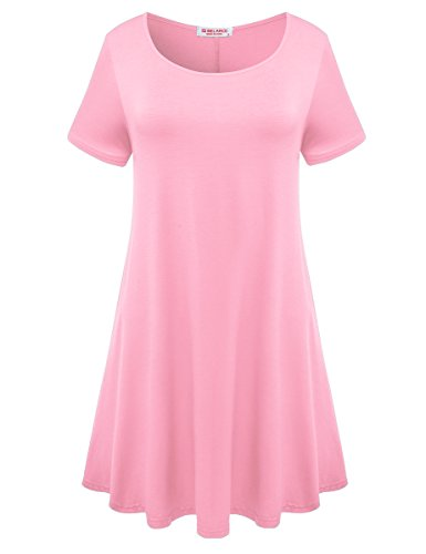 BELAROI Womens Comfy Swing Tunic Short Sleeve Solid T-Shirt Dress (M, Pink) (Doll Top Baby Sleeve Sheer)