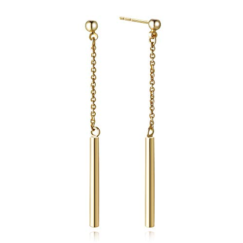 Agvana Yellow Gold Filled Minimalism Polishing Link Tube Bar Drop Dangle Earrings Gift for Women Girls