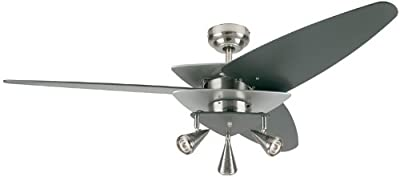 "Westinghouse 78506 Vector Elite Brushed Nickel 52"" Ceiling Fan with Light"