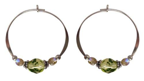 Bali Sky Medium Sterling Silver Green Yellow Bead Hoop Earrings SHM003 ()