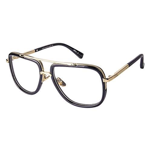Oversized Square Glasses for Men Women Aviator Shades Gold Frame Retro Brand Designer Transparent ()