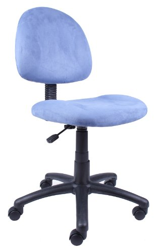 Boss Office Products B325-BE Perfect Posture Delux Microfiber Task Chair without Arms in Blue
