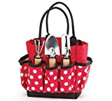 Gardening Gift Tote Red Polka Dots with Tools