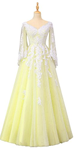 - Okaybrial Women's Long Sleeve Evening Dress V Neck Tulle Lace Appliques A Line Gowns
