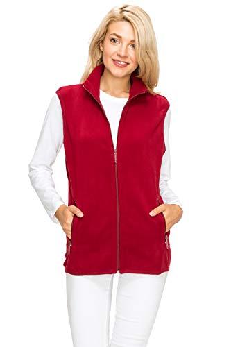 Vest Womens Fleece 1 - EttelLut Unisex Regular Plus Size Light Weight Polar Fleece Vest for Women w Side Pockets Burgandy S