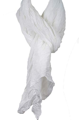 (Cotton Solid Color wrinkle Linen Scarf, fashion scarf, multi color, beach scarf (White))