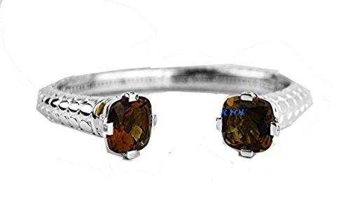 - John Hardy Sterling Silver Batu Dot Kick Cuff Bracelet Lrg Citrine #32B