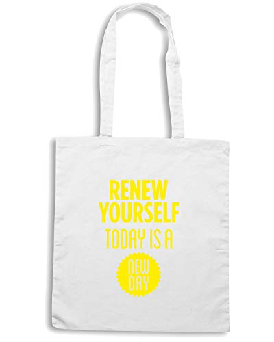 Speed Shirt Borsa Shopper Bianca CIT0187 RENEW YOURSELF TODAY IS A NEW DAY