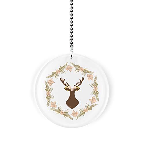 Woodland Deer in Peach Floral Wreath Fan/Light Pull