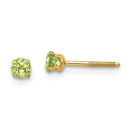 (14k Yellow Gold 3mm Green Peridot Earrings Birthstone August Stud Gemstone Fine Jewelry Gifts For Women For Her)