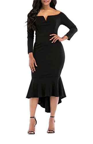 onlypuff Midi Formal Dresses Black Long Sleeve Off The Shoulder Partying Dresses for Women XL
