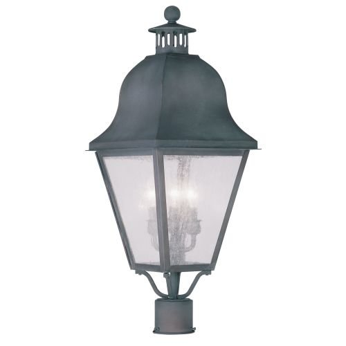 Livex Lighting 2556-61 Amwell 3-Light Outdoor Post Head, (Post Mounted Charcoal)