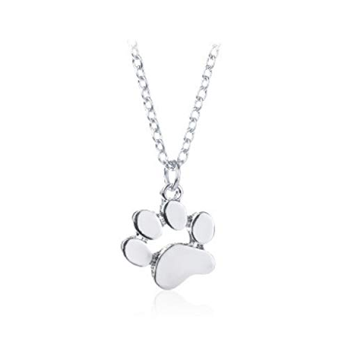 (Lovely Pet Cat Dog Paw Necklace Women Gold Silver Enamel Animal Claw Foot Print Choker Pendants Jewelry Gift for Dog Owners)