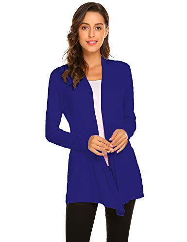 Newchoice Women's Soft Drape Open Front Cardigans Loose Casual Lightweight Long Sleeve Cardigan Sweaters All Seasons (Royal Blue, L) ()