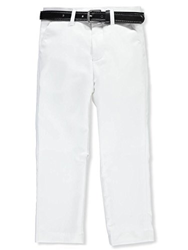 Alberto Danelli Little Boys' Flat Front Belted Dress Pants - White, 6 -