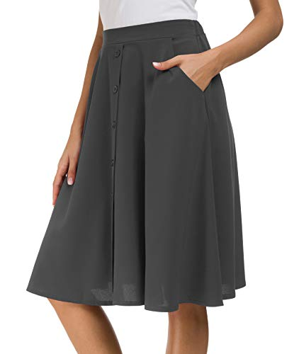 Afibi Women's High Waisted A Line Pleated Midi Skirt Button Front Skirts with Pocket (XX-Large, Dark Gray) ()