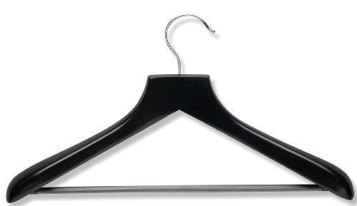 Honey-Can-Do HNGZ01524 Wood Wide Shoulder Suit Hangers, 2-Pack, Black by Honey-Can-Do