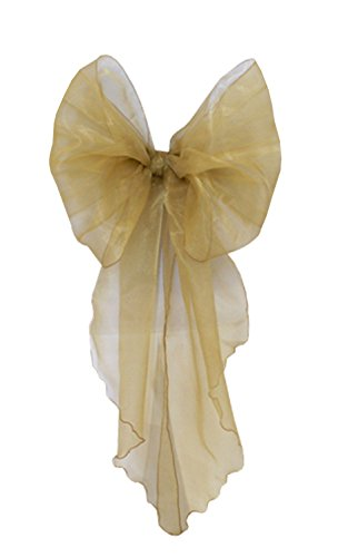 Pack of 100 Organza Chair Sashes Decoration Bow for Chair Covers Sheer Band Wedding Event Christmas Party (Gold)