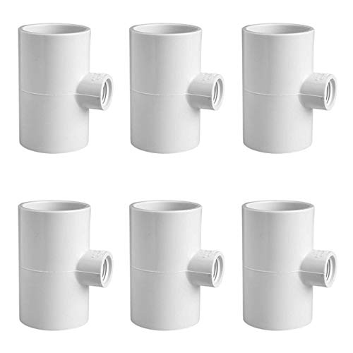 Cruzadel 6 Pack - PVC Tee Fittings for Threaded Poultry Nipples Chicken Waterer - Schedule 40 PVC 1/2 inch Slip X 1/2 inch Slip X 1/8 inch FPT