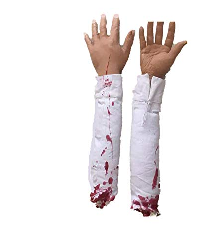 - AOBOR Halloween Decoration Haunted House Scary Fake Bloody Broken Severed Hand Body Prank Party Prop(Left and Right) (Hand)