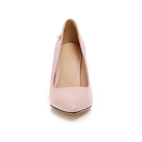 Women's Pumps High PU WeenFashion Closed Jewels Pink with and Burnished Toe Heels Shoes fgwdxqU
