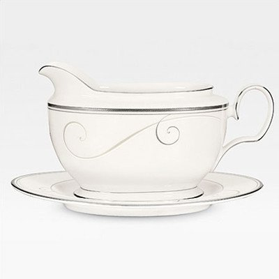 Noritake 2-pc. Meridian - Wave Gravy Boat with Tray, Platinum