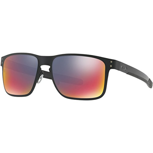 Oakley Holbrook Metal Square Sunglasses, Matte Black w/Positive Red Iridium, 55 - Holbrook Red Oakley