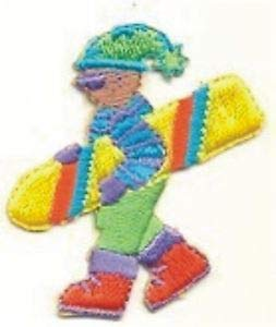 VirVenture Yellow Snowboard Snowboarding Dude in Stocking Cap Sweater Embroidery Patch Great for Hats, Backpacks, and Jackets.