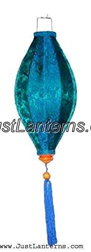Vietnamese Oval Silk Lantern- - Silk Lanterns Blue