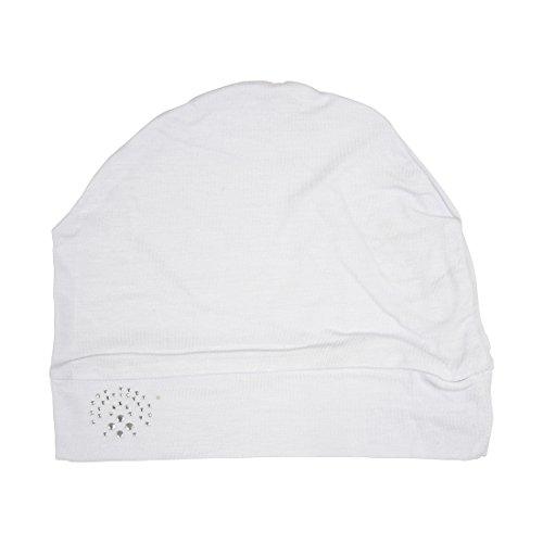 Landana Headscarves White Sleep Cap Chemo Beanie with Oval Studs Cancer ()