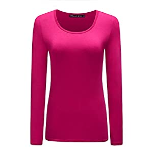 OThread & Co. Women's Long Sleeve T-Shirt Scoop Neck Plain Basic Spandex Tee