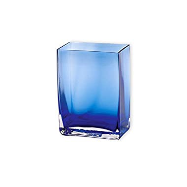 Flower Glass Vase Decorative Centerpiece For Home or Wedding by Royal Imports - Small Rectangle Shape, 6  Tall x 4.5 x2.5 W, Cobalt Blue