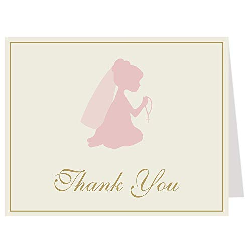 (First Holy Communion Thank You Cards Christening Confirmation Baptism Religious Cross Pink Gold Rosary Girl Girls Thanks Folding Thank You Notes (24 count))