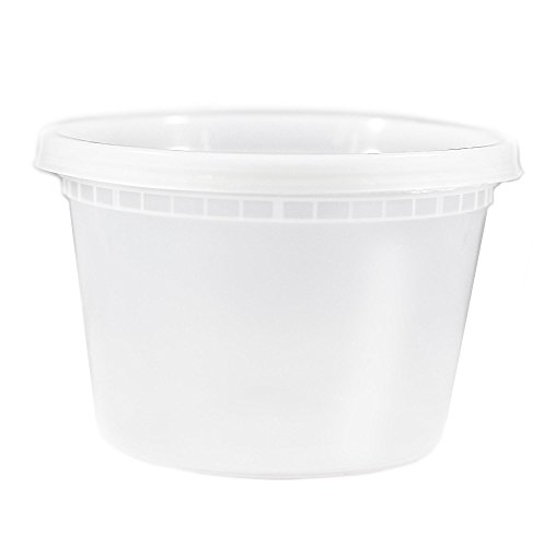 EDI Food Storage Deli Containers with Plastic Lids, 12 Ounce (25 Pack) (Airtight Container 12 Oz)
