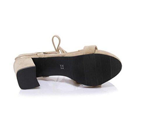 SHFANG Sandalias de verano de las señoras Talón áspero Heels Cinturón lateral simple de la hebilla Fringed Cross Bandage Partido de las compras Tres colores los 6cm Beige