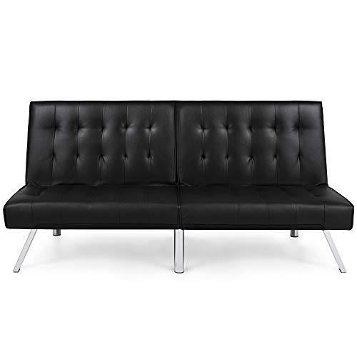 Best Choice Products Modern Leather Futon Sofa Bed Couch Recliner Lounger Sleeper w/ Chrome Legs - Black