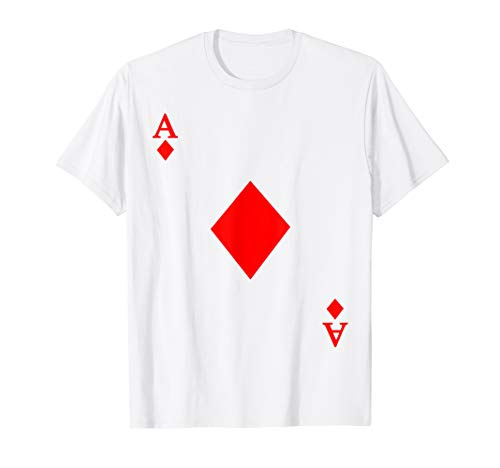 Ace of Diamond Deck of Cards Halloween Costume T-Shirt (Card Sleeves Skeleton)